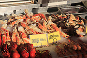 Street fish stall selling lobster and crab,  Bergen, Norway