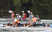 """Rio de Janeiro. BRAZIL. Gold Medalist NED LW2X. Bow. Ilse PAULIS, and Maaike<br /> HEAD, after winning the final, supporters swim out to greet and congratulate the double. 2016  2016 Olympic Rowing Regatta. Lagoa Stadium,<br /> Copacabana,  """"Olympic Summer Games""""<br /> Rodrigo de Freitas Lagoon, Lagoa. Local Time 10:39:56  Friday  12/08/2016 <br /> [Mandatory Credit; Peter SPURRIER/Intersport Images]"""