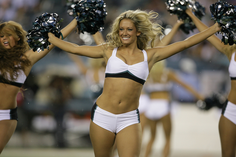PHILADELPHIA - AUGUST 14:  The Philadelphia Eagles cheerleaders dance during the game against the Carolina Panthers on August 14, 2008 at Lincoln Financial Field in Philadelphia, Pennsylvania. The Eagles won 24-13.(Photo by Drew Hallowell/Getty Images)  *** Local Caption ***