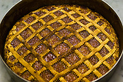 A fruit tart baked at the San Marcello al Corso Church in Rome, Italy, near the Spanish Steps, where monk brother priest Ricardo Casagrande is in charge of the kitchen, garden, and wine cellar for the brotherhood. (Riccardo Casagrande is featured in the book What I Eat: Around the World in 80 Diets.) MODEL RELEASED.