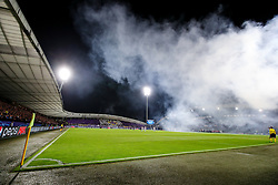 A general view of the field with smoke during group E football match between NK Maribor and Spartak Moscow in 1st Round of UEFA Champions League, on Septebmer 13, 2017 in Ljudski vrt, Ljubljana, Slovenia. Photo by Morgan Kristan / Sportida