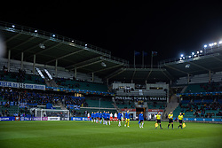 TALLINN, ESTONIA - Monday, October 11, 2021: Estonia and Wales players walk out before the FIFA World Cup Qatar 2022 Qualifying Group E match between Estonia and Wales at the A. Le Coq Arena. Wales won 1-0. (Pic by David Rawcliffe/Propaganda)