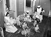 St Ultan's Hospital for Sick Children.<br /> 13/01/1955<br /> St Ultan's Hospital was established in 1919 by Dr Kathleen Lynn and Madeleine ffrench-Mullen in response to socio-medical conditions in Dublin. It was not unusual for women to establish hospitals. This had happened in Britain and the United States in the late nineteenth century to facilitate women's access to the medical profession. Women on missionary activity in India and China had established hospitals for the local population. Although the Ulster Hospital for Women and Children and the Belfast Hospital for Sick Children were established in 1873 by men, they provided employment for female doctors. International developments also motivated St Ultan's founders, as they noted that Dundee, Manchester and London had opened hospitals for women. St Ultan's closed in 1984.