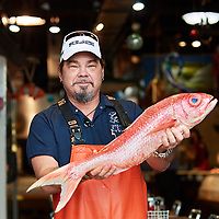 Sewickley, PA - September 17:  Owner and head fish monger Henry Dewey works early in the morning preparing fish at Penn Avenue Fish Co. in the Strip District, Pittsburgh, PA on September 18, 2018. (Photo by Shelley Lipton)