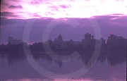 Harrisburg, PA, City Skyline, Susquehanna River Reflections, Dark Mood