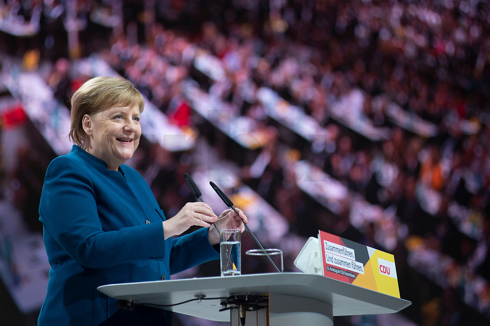 07 DEC 2018, HAMBURG/GERMANY:<br /> Angela Merkel, CDU, Bundeskanzlerin, haelt Ihre letzte Rede als Parteivorsitzende, CDU Bundesparteitag, Messe Hamburg<br /> IMAGE: 20181207-01-008<br /> KEYWORDS: party congress, speech