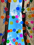 Balloons in the streets of Romans-sur-Isere, France