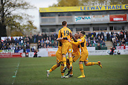 Newport County players celebrate Danny Crow's goal during the Skybet football league two match, Newport county v Chesterfield at Rodney Parade in Newport, South Wales on Sunday 1st Dec 2013. pic by Jeff Thomas, Andrew Orchard sports photography,