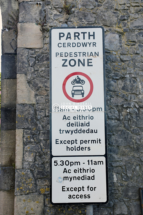 Road sign in English and Welsh, Tenby, Pembrokeshire, South Wales 2021