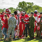 Kansas City Chiefs wide receiver Jason Avant (81) shook hands with members of the military after practice on Military Appreciation Day at the team's training camp practice Wednesday morning at Missouri Western State University in St. Joseph, Mo.