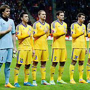 Kazakhstan's players (Left to Right) Samat Smakov, goalkeeper Aleksandr Mokin, Askhat Tagybergen, Mark Gurman, Renat Abdulin, Dmitri Shomko, Yuri Logvinenko, Sergei Khizhnichenko during their UEFA Euro 2016 qualification Group A soccer match Turkey betwen Kazakhstan at AliSamiYen Arena in Istanbul November 16, 2014. Photo by Kurtulus YILMAZ/TURKPIX