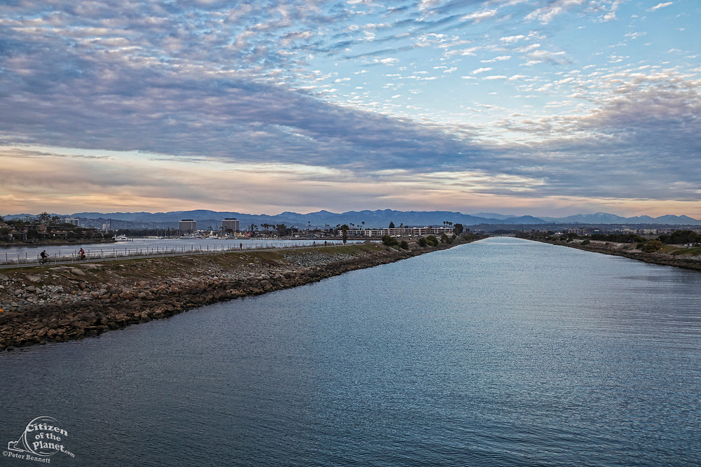Ballona Creek with late afternoon clouds, Marina Del Rey, Los Angeles, California, USA
