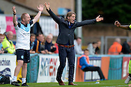 Gareth Ainsworth, the Wycombe Wanderers manager reacts and shouts from the touchline. Skybet football league two match, Wycombe Wanderers v Hartlepool Utd at Adams Park in High Wycombe, Bucks on Saturday 5th Sept 2015.<br /> pic by John Patrick Fletcher, Andrew Orchard sports photography.