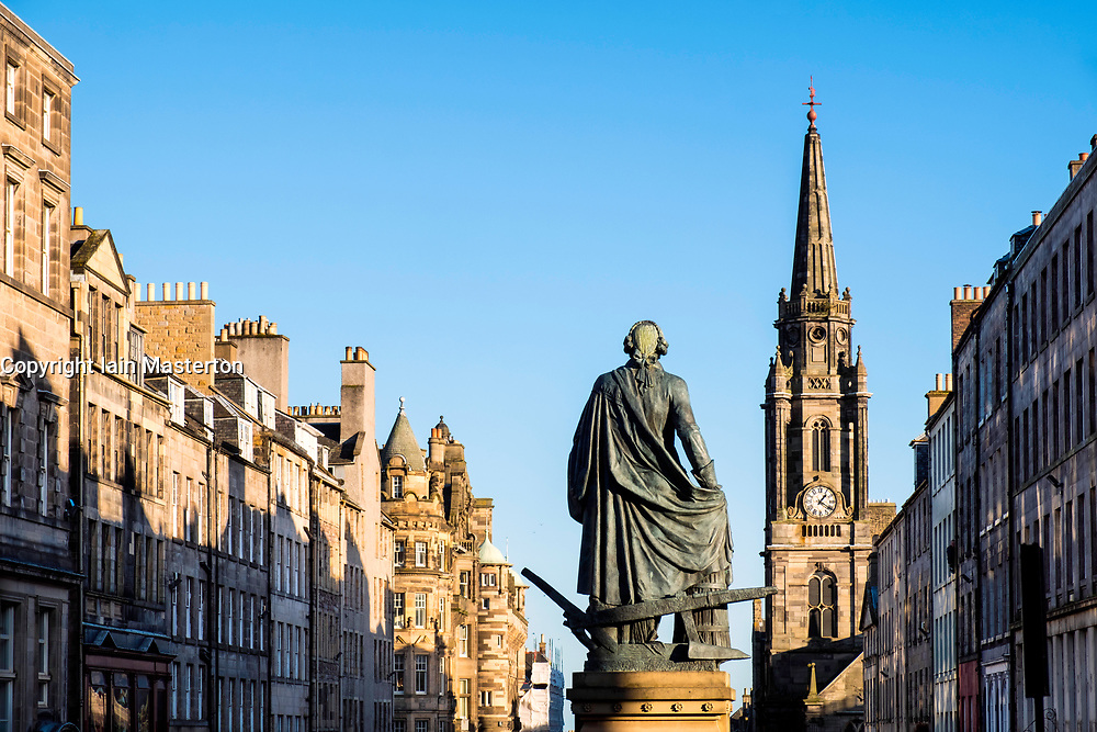 View of statue of Adam Smith on the Royal Mile in Old Town of Edinburgh, Scotland, United Kingdom.