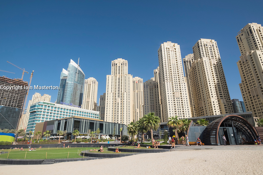 View of new beachfront retail and eating outlets and facilities at The Beach development at  JBR Jumeirah Beach Residences in Marina district of Dubai United Arab Emirates