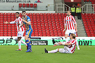 Stoke City players claim a penalty after a challenge on during the The FA Cup 3rd round replay match between Stoke City and Shrewsbury Town at the Bet365 Stadium, Stoke-on-Trent, England on 15 January 2019.