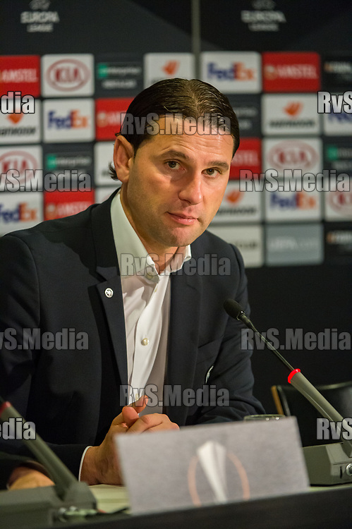 BERN, SWITZERLAND - NOVEMBER 28: Head Coach Gerry Seoane of BSC Young Boys speaks during the press conference after the UEFA Europa League group G match between BSC Young Boys and FC Porto at Stade de Suisse, Wankdorf on November 28, 2019 in Bern, Switzerland. (Photo by Robert Hradil/RvS.Media)