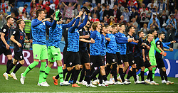 NIZHNY NOVGOROD, June 21, 2018  Players of Croatia celebrate victory after the 2018 FIFA World Cup Group D match between Argentina and Croatia in Nizhny Novgorod, Russia, June 21, 2018. Croatia won 3-0. (Credit Image: © Li Ga/Xinhua via ZUMA Wire)