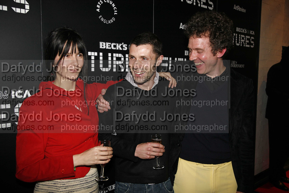 Gillian Wearing, Matt Stokes and Martin Creed, Becks Futures art prize, Institute of Contemporary arts. London. 2 May 2006. ONE TIME USE ONLY - DO NOT ARCHIVE  © Copyright Photograph by Dafydd Jones 66 Stockwell Park Rd. London SW9 0DA Tel 020 7733 0108 www.dafjones.com