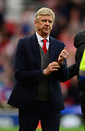 Arsene Wenger, manager of Arsenal looking dejected after the match. Premier league match, Stoke City v Arsenal at the Bet365 Stadium in Stoke on Trent, Staffs on Saturday 19th August 2017.<br /> pic by Bradley Collyer, Andrew Orchard sports photography.