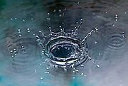 High-speed photography of a liquid droplet. The droplet lands in the liquid and produces a coronet.