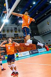 Gijs van Solkema of Netherlands, Fabian Plak of Netherlands in action during the CEV Eurovolley 2021 Qualifiers between Croatia and Netherlands at Topsporthall Omnisport on May 16, 2021 in Apeldoorn, Netherlands