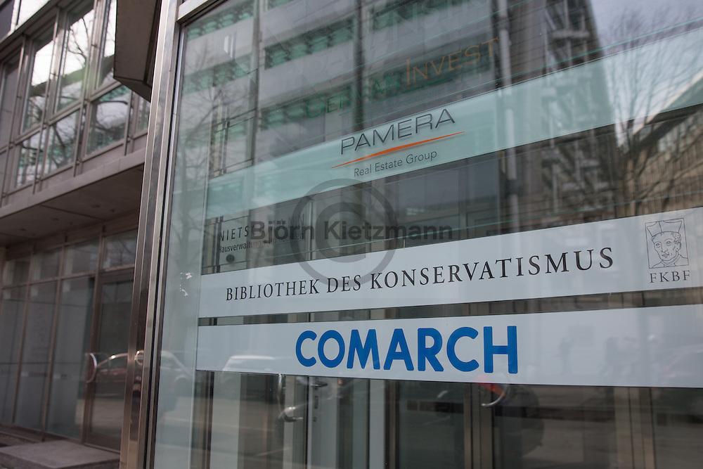 Berlin, Germany - 24.02.2015 <br /> <br /> In a nondescript office building in Berlin-Charlottenburg is the library of conservatism.<br /> <br /> In einem unscheinbaren Charlottenburger Bürogebäude befindet sich die Bibliothek des Konservatismus.<br /> <br /> Photo: Bjoern Kietzmann