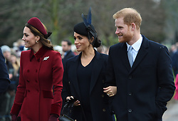 The Duchess of Cambridge, the Duchess of Sussex and the Duke of Sussex arriving to attend the Christmas Day morning church service at St Mary Magdalene Church in Sandringham, Norfolk.