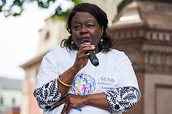 London, UK. 30 May, 2019. Jeanette Arnold OBE, member of the London Assembly and Chair of the Education Panel, addresses campaigners from SEND National Crisis attending a demonstration in Parliament Square to demand improvements in the diagnosis and assessment of young people with SEND, assistance for their families, funding and legal and financial accountability for local authorities in their treatment of young people with SEND and their families. Credit: Mark Kerrison/Alamy Live News