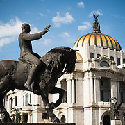 The Palacio de Bellas Artes (Palace of Fine Arts) is Mexico's most important cultural center. It's located on the end of Alameda Central park close to the Zocalo in Centro Historico. The building was completed in 1934 and features a distinctive tiled roof on the domes.