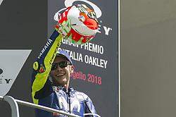 June 3, 2018 - Scarperia, Tuscany, Italy - Valentino Rossi on podium to celebrate the third place after race of  Italian Motogp at Mugello Circuit, Scarperia, Italy; (Credit Image: © Gaetano Piazzolla/Pacific Press via ZUMA Wire)