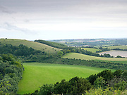 The view at Old Winchester Hill National Nature Reserve, Hampshire, United Kingdom on 1st August 2017. Old Winchester Hill occupies a prominent and visually attractive site and is an ideal landscape for a wide range of plants and animals. Visitors can also join the South Downs Way