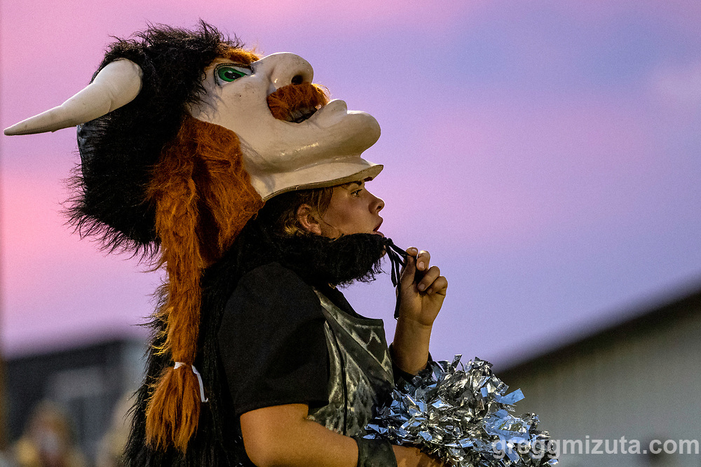 Viking mascot. Vale High School vs La Pine High School football game at Frank Hawley Stadium in Vale, Oregon on September 10, 2021.