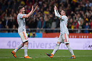 Iago Aspas (R) of Spain celebrates a goal during the International friendly game football match between Spain and Argentina on march 27, 2018 at Wanda Metropolitano Stadium in Madrid, Spain - Photo Rudy / Spain ProSportsImages / DPPI / ProSportsImages / DPPI