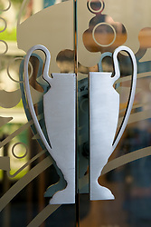 MADRID, SPAIN - Wednesday, October 22, 2008: The European Cup as door handles on the Real Madrid shop in Madrid. (Photo by David Rawcliffe/Propaganda)