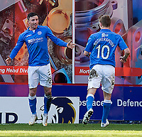 21/02/15 SCOTTISH PREMIERSHIP<br /> DUNDEE UTD v ST JOHNSTONE<br /> TANNADICE - DUNDEE<br /> More joy for St Johnstone's Michael O'Halloran (left) as he celebrates his second goal of the game