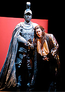 Gaston De Cardenas/El Nuevo Herald -- In a scene from act II of the Florida Grand Opera production of Mozart's Don Giovanni. Commendatore's statue played by Gustav Andreassen tell the Giovanni played by Ned Barth that he must repent and change his lustful ways. Giovanni boldly refuses warnings to repent, even in the face of death. Flames engulf his house, and the sinner is dragged to hell.