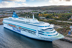 Greenock, Scotland, UK. 21st October 2021. Due to a severe shortage of accommodation for delegates attending the upcoming UN Climate Change Conference COP26 in Glasgow, two Ro-Ro ferries have arrived on the Clyde to help alleviate the situation. Pic; The Estonian flagged Sija Europa berthed today at Greenock. Iain Masterton/Alamy Live News.