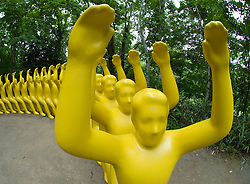 """Yellow sculpture called """"You're My Chair, I'm Yours"""" by Shigeo Fukada at Sapporo Art Park in Hokkaido Japan 2007"""