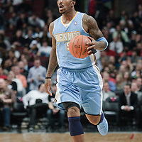 08 November 2010: Denver Nuggets' shooting guard #5 J.R. Smith brings the ball upcourt during the Chicago Bulls 94-92 victory over the Denver Nuggets at the United Center, in Chicago, Illinois, USA.