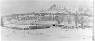 """RGS Lizard Head station area showing the east side.  A derailment of gons has occurred on the tail of the wye.  The snowshed over the tail has not yet been erected and the stock pens are rather small.<br /> RGS  Lizard Head, CO  ca. ? 1920<br /> In book """"Rio Grande Southern, The: An Ultimate Pictorial Study"""" page 145<br /> Also at RD137-021.<br /> Thanks to Don Bergman for additional information."""