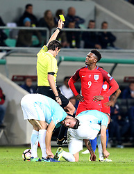 Daniel Sturridge of England looks perplexed as he is awarded a yellow card - Mandatory by-line: Robbie Stephenson/JMP - 11/10/2016 - FOOTBALL - RSC Stozice - Ljubljana, England - Slovenia v England - World Cup European Qualifier