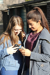 Teenage girls looking at mobile phone