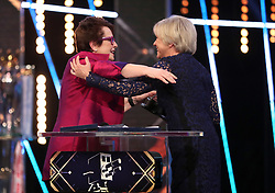 Billie Jean King receives her Life Time Achievement Award from Sue Barker during the BBC Sports Personality of the Year 2018 at Birmingham Genting Arena.