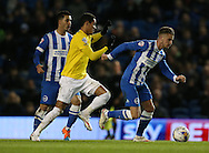Joe Bennett, Brighton defender during the Sky Bet Championship match between Brighton and Hove Albion and Derby County at the American Express Community Stadium, Brighton and Hove, England on 3 March 2015.