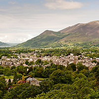 Above view of Keswick in the Lake District, Cumbria, UK