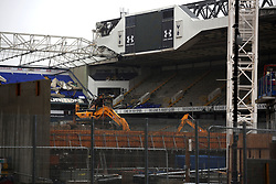 6 June 2017 - Demolition of White Hart Lane<br /> A general view (gv) of demolition at White Hart Lane ; The Game Is About Glory signs can still be seen on the stands<br /> Photo: Mark Leech