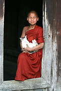 A young Burmese monk holds the resident monastery cat at a monastery in central Myanmar (Burma).