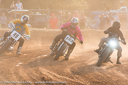 Willie McCoy (49 - former AMA Grand National race winner) on the outside with Hunter Klee (182) in the middle on the track Hooligan racing at the 2016 ROT (Republic of Texas Rally). Austin, TX, USA. June 11, 2016.  Photography ©2016 Michael Lichter.
