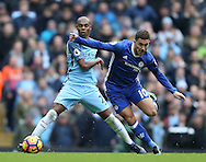 Fernandinho of Manchester City tackles Eden Hazard of Chelsea during the Premier League match at the Etihad Stadium, Manchester. Picture date: December 3rd, 2016. Pic Simon Bellis/Sportimage